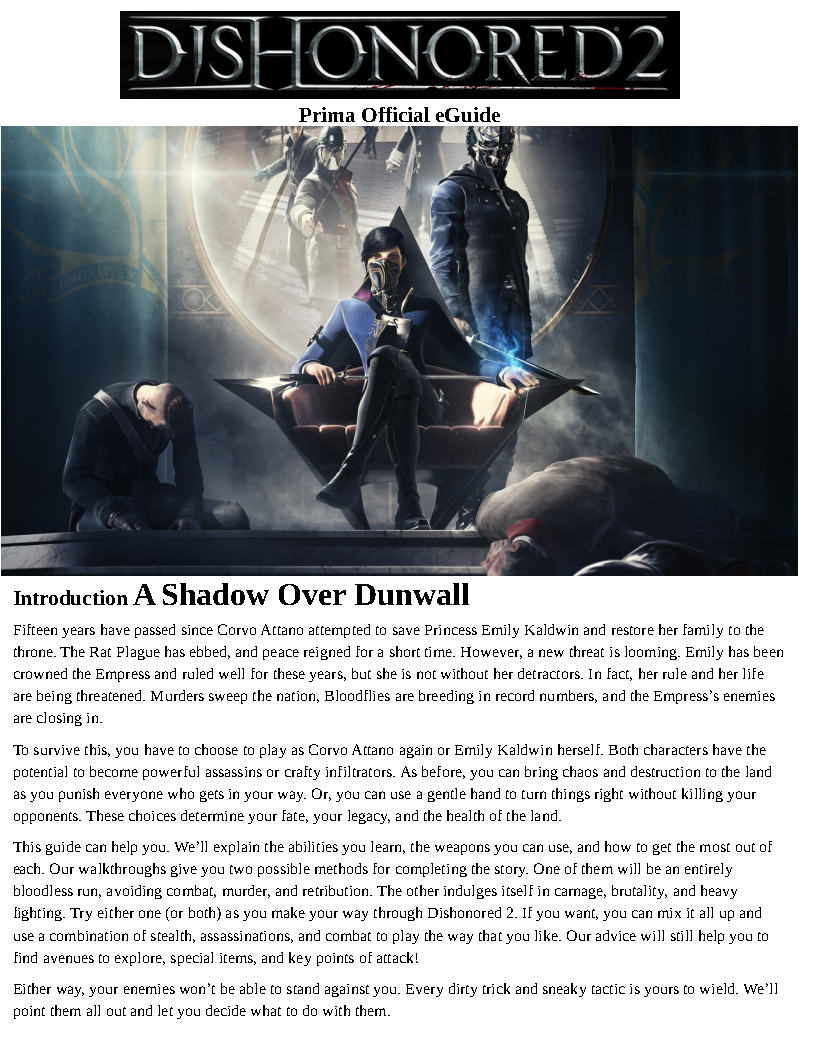 Strategy guide Dishonored 2